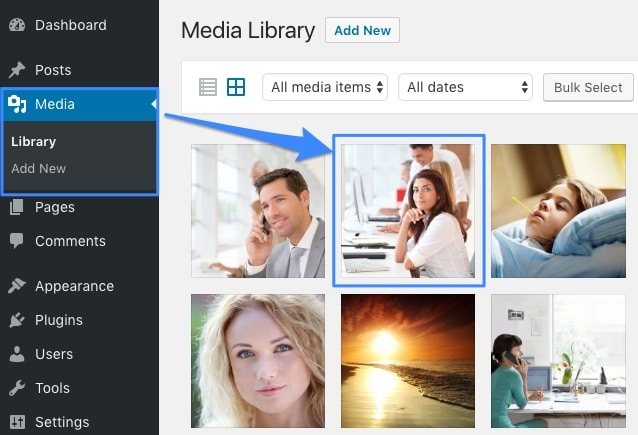 Open your WordPress Media Library and click on a Image on the right side